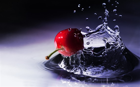 Wallpaper Red cherry falling to the water, fruit,  splash, waves