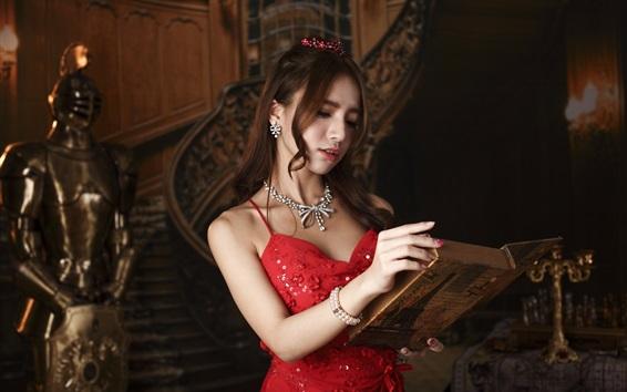 Wallpaper Red dress Asian girl reading a book