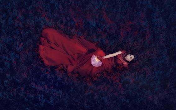 Wallpaper Red dress Asian girl, retro style, fan