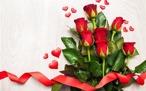 Fond d'écran Roses rouges, coeurs d'amour, ruban