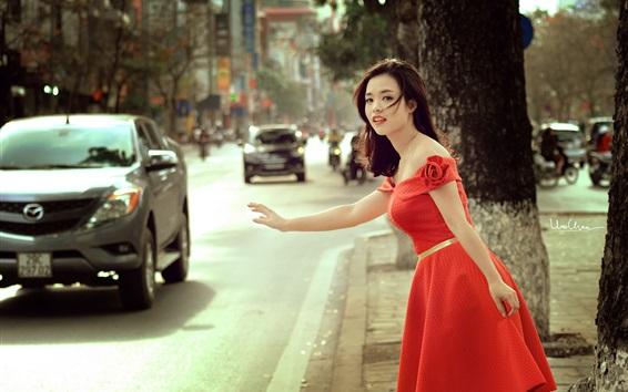 Wallpaper Red skirt Asian girl at street