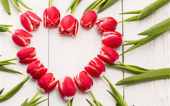 Wallpaper Red tulips, love heart