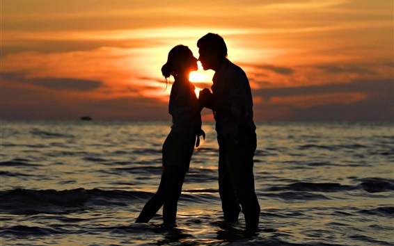 Wallpaper Romantic time, lovers, kiss, sea, sunset