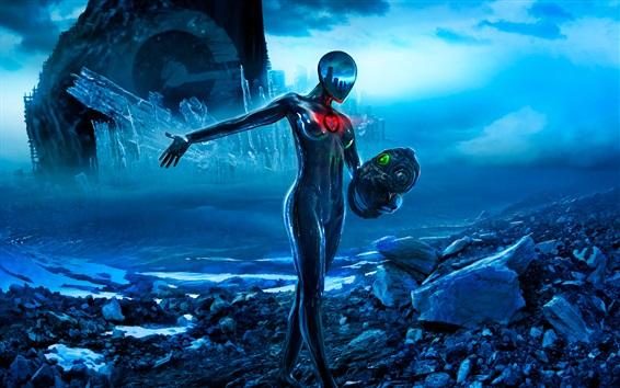 Wallpaper Romantically Apocalyptic, Sci-Fi, girl, helmet, art picture