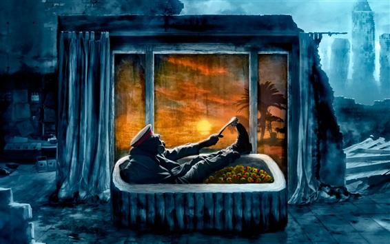 Wallpaper Romantically Apocalyptic, bathroom, ruins, gas mask, city