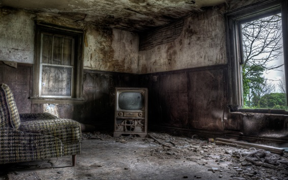 Wallpaper Ruins, room, TV, chair, window