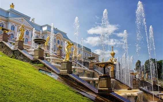 Wallpaper Russia, Saint Petersburg, Peterhof Palace, fountains, summer