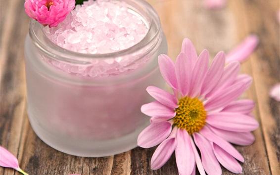 Papéis de Parede Tema SPA, flores rosa, placa de madeira