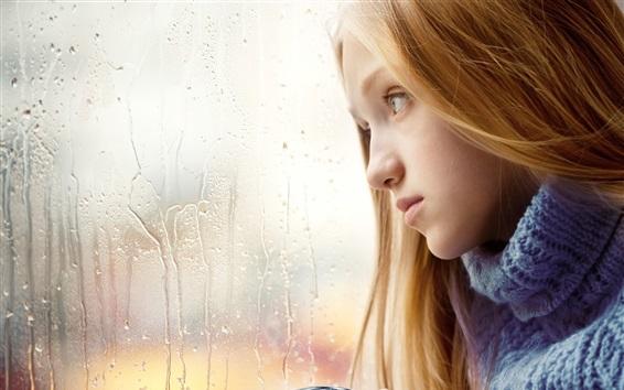 Fond d'écran Triste fille, blonde, fenêtre, jour de pluie