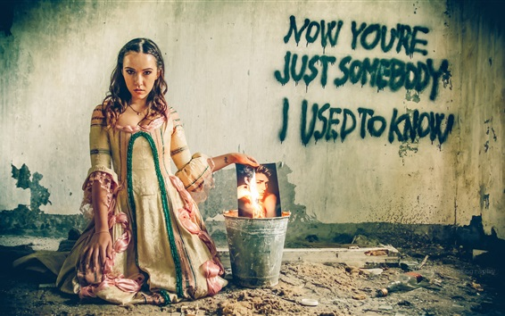 Wallpaper Sadness girl, bucket, burning photo, retro dress