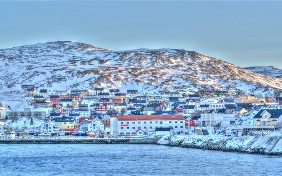 Papéis de Parede Escandinávia, Noruega, porto, mar, costa, inverno, neve
