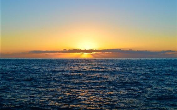 Обои Море, облака, закат, природный ландшафт