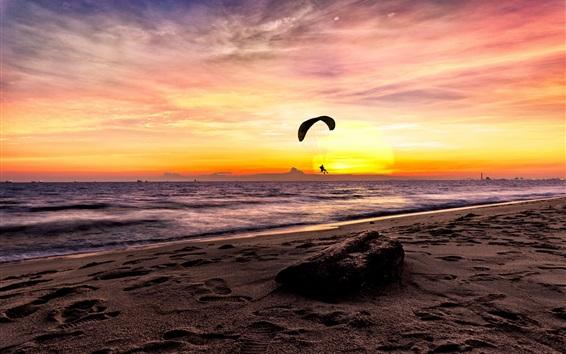 Wallpaper Sea, paraglider, sunset, beach
