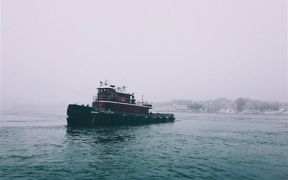 Fond d'écran Mer, bateau, brouillard, matin