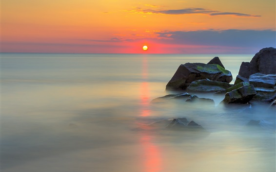 Wallpaper Sea, stones, red sky, water reflection, clouds, sunrise