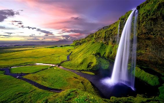 Fond d'écran Seljalandsfoss en Islande, cascade, rivière, vert, nuages, coucher de soleil