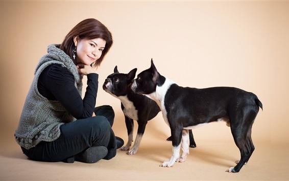 Fondos de pantalla Niña de pelo corto y dos perros
