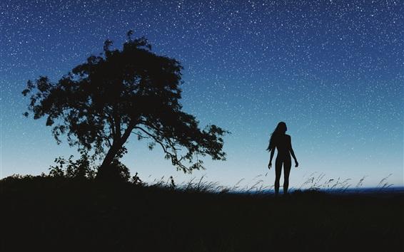 Wallpaper Silhouette, night, girl, tree, sky, stars