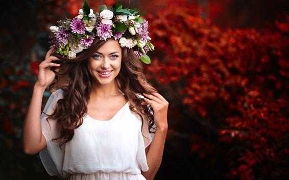 Wallpaper Smile girl, wreath, brown hair, white dress