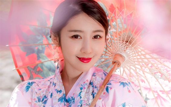 Wallpaper Smiling Japanese girl, kimono, paper umbrella