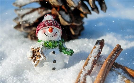 Wallpaper Snowman, New Year theme, winter, snow
