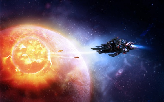 Wallpaper Space, spaceship, planets