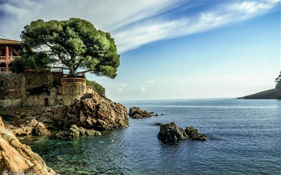 Wallpaper Spain, sea, house, tree, blue sky