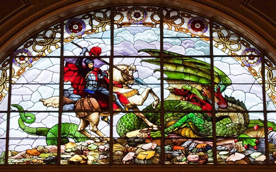 Wallpaper St. George's hall, stained glass, painting, dragon, Liverpool, England