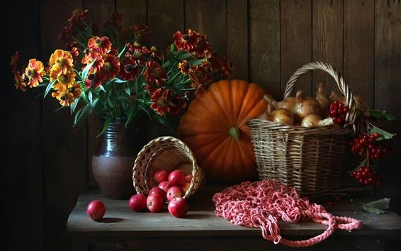 Wallpaper Still life, flowers, pumpkin, apples, onion, berries, basket