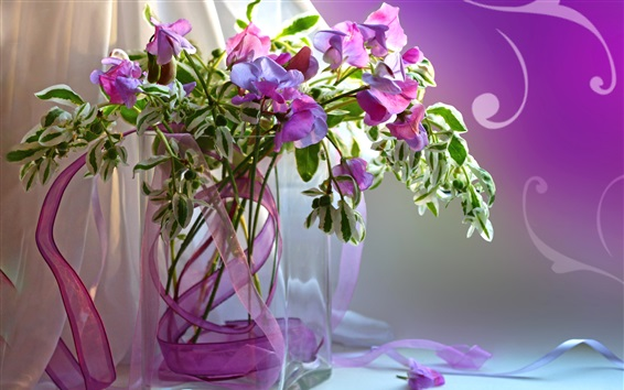 Wallpaper Still life, vase, purple flowers, petals