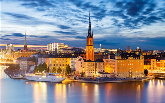 Wallpaper Stockholm at night, houses, buildings, lights, river, city, Sweden
