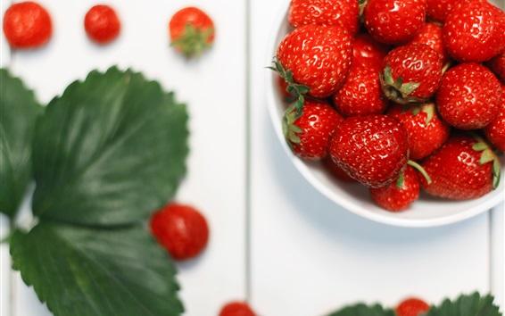 Wallpaper Strawberry, leaves, fruit