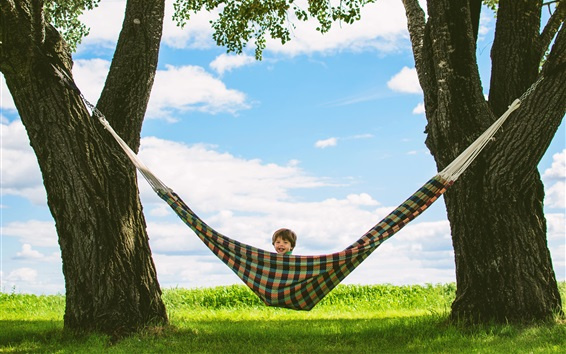 Wallpaper Summer, trees, hammock, happy child boy