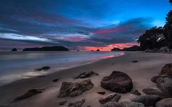 Wallpaper Sunset sea, beach, clouds, stones