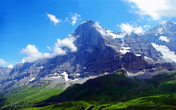 Wallpaper Switzerland, Alps, The Eiger, clouds, blue sky