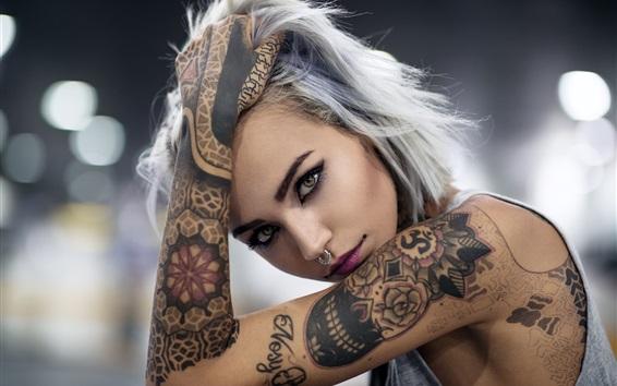 Wallpaper Tattoo girl, face, look, hand