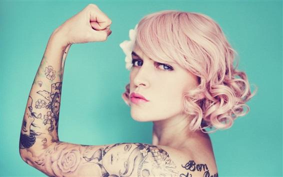Wallpaper Tattoos girl, blonde, hand