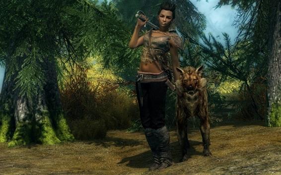 Fondos de pantalla The Elder Scrolls V: Skyrim, la niña y el lobo