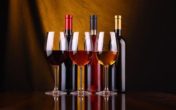 배경 화면 3 병 와인, 유리 컵