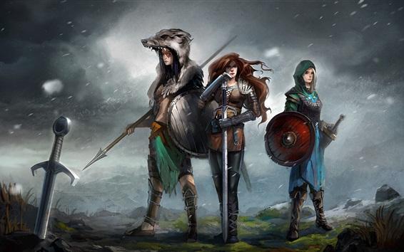 Fondos de pantalla Tres niñas, guerrero, armas, fantasía, cuadro de arte