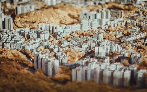 Wallpaper Tilt shift photography, skyscrapers, white buildings, trees, autumn