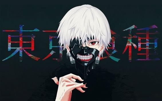 배경 화면 도쿄 구울, 하얀 머리카락, 애니메이션