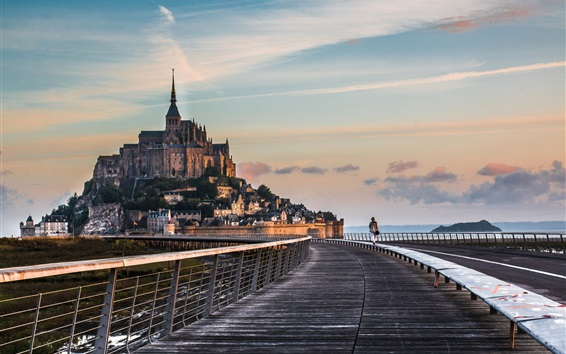 Wallpaper Travel to Normandy, Mont-Saint-Michel, road, bridge, monastery