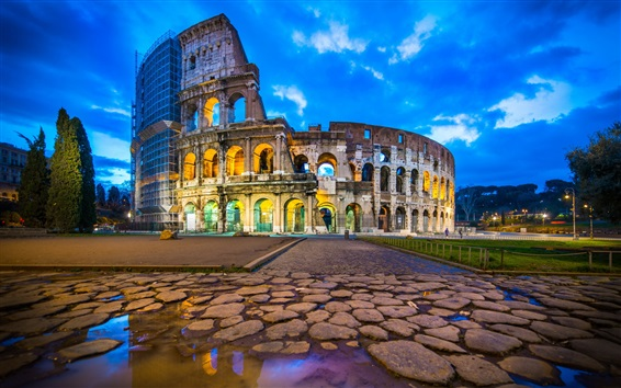 Wallpaper Travel to Rome, Colosseum, ruins, dusk, clouds, lights, Italy
