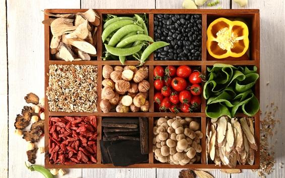 壁紙 野菜、コショウ、エンドウ豆、きのこ、栗、ゴジ