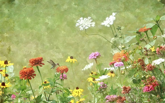 Fond d'écran Aquarelle, peinture, fleurs, colibri, printemps