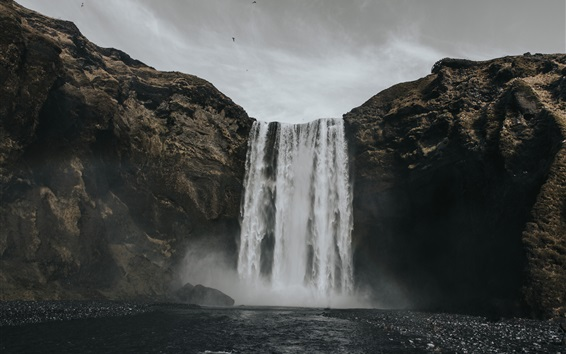 Wallpaper Waterfall, water, clouds, dusk