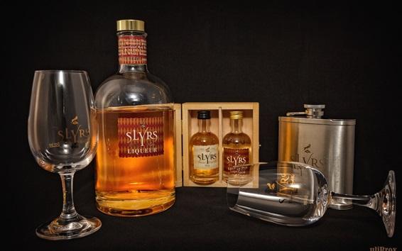 Wallpaper Whiskey, alcohol drinks, bottles, cups