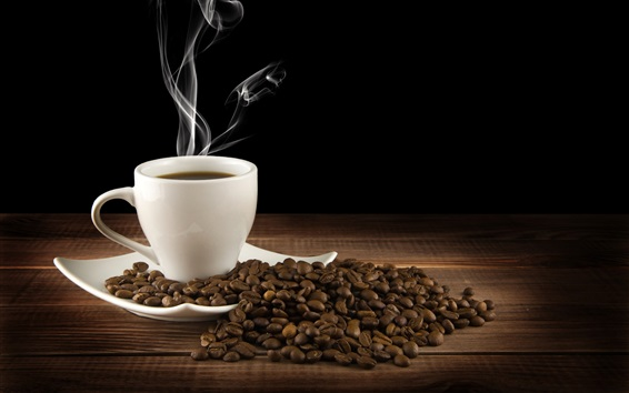 Wallpaper White cup, drink, hot coffee, saucer, steam, coffee beans