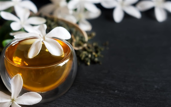 Papéis de Parede Flores brancas e chá